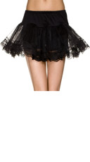 Double Layer Lace Trimmed Petticoat - Black