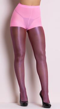 Shiny Metallic Pantyhose - Neon Pink