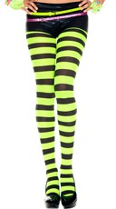 Opaque Wide Striped Tights - Black/Neon Green