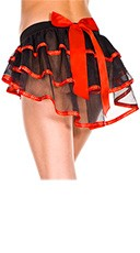 Burlesque Layered Petticoat - Black/Red