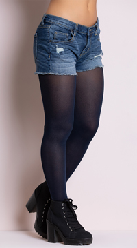 Opaque Tights - Navy Blue