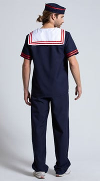 Mens Ahoy Sailor Costume - Navy Blue/Red/White