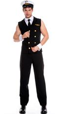 Men's Sexy Sleeveless Pilot Costume - Black