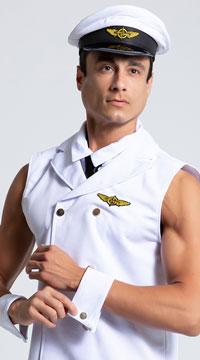 Men's Sexy Sleeveless Pilot Costume - White
