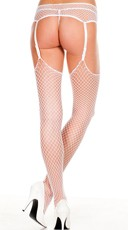 Diamond Net Thigh High Stockings With Garter Belt - White