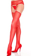 Fishnet Thigh Highs With Garterbelt - Red