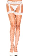 Fence Net Thigh High Stockings With Garterbelt - White