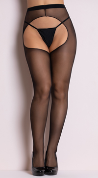 Sheer Crotchless Pantyhose - Black