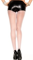 Sheer Backseam Pantyhose - White