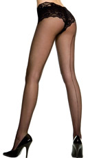 Sheer Backseam Pantyhose - Black