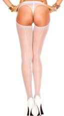 Backseam Sheer Thong Back Pantyhose - White