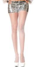 Sheer Pantyhose With Ankle Rhinestone - White