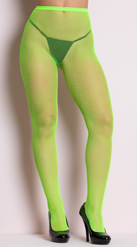 Classic Seamless Fishnet Pantyhose - Neon Green