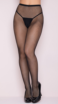 Classic Seamless Fishnet Pantyhose - Black
