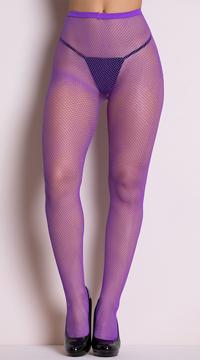 Classic Seamless Fishnet Pantyhose - Purple