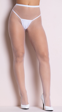 Classic Seamless Fishnet Pantyhose - White