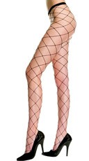 Seamless Big Diamond Net Pantyhose - Black