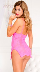 Lace Chemise and Thong - Neon Pink