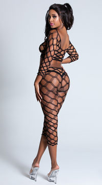Multi Net Top and Tights - Black