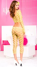 Multi Net Top and Tights - Neon Yellow