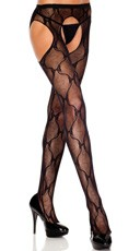 Back Bow Lace Suspender Pantyhose - Black