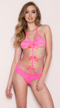 Lace Band Bow Teddy - Hot Pink