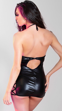 Faux Leather Criss Cross Chemise - Black