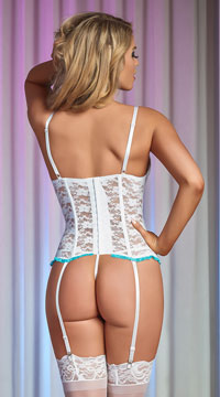 Luv Lace Bustier Set - White/Blue