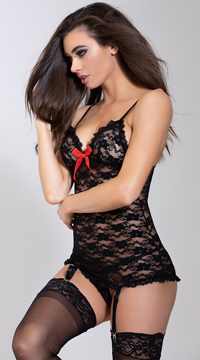 Luv Lace Chemise and G String - Black