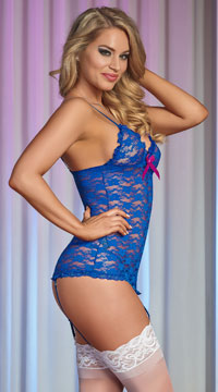 Luv Lace Chemise and G String - Blue