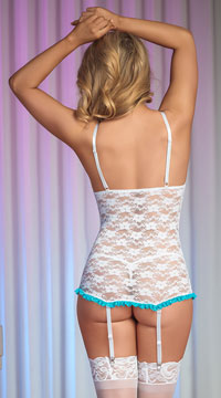 Luv Lace Chemise and G String - White/Blue