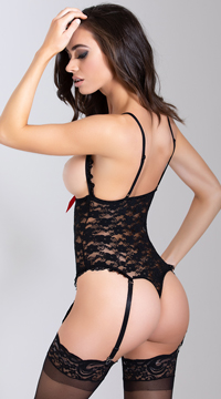 Luv Lace Open Cup Crotchless Teddy - Black