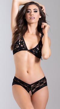 Peekaboo Lace Bra Set - Black
