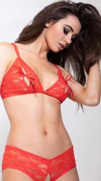 Peekaboo Lace Bra Set - Red
