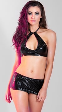 Daring Vinyl Bra and Skirt Set - Black