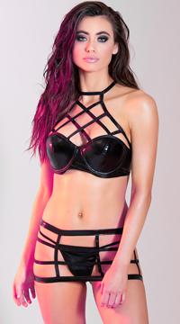 Cage Crop Top Skirt Set - Black