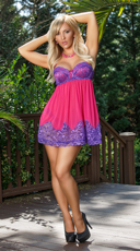 Sheer Passion Babydoll and Thong Set - Purple