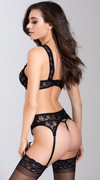 Forget Me Not Bra and Garter Set - Black