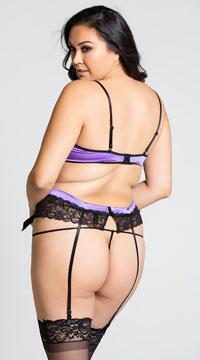 Plus Size Romantic Ruffle Bra Top Set - Purple