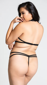 Plus Size Lace Strappy Teddy - Black