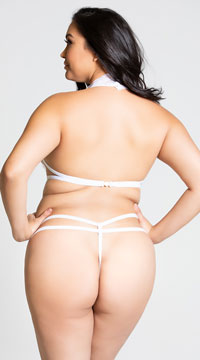 Plus Size Lace Strappy Teddy - White