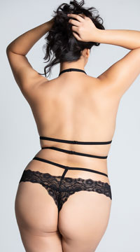 Plus Size Lace Band Bow Teddy - Black