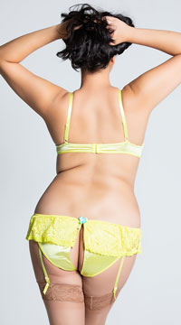 Plus Size Yellow Lacy Bra and Garter Panty Set - Yellow