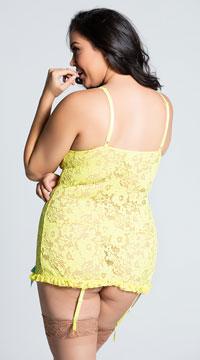 Plus Size Yellow Lace Chemise Set - Yellow
