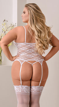 Plus Size Merry Widow Bustier Set - White