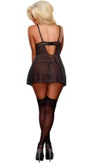 Plus Size Cupless Chemise and G-String - Black
