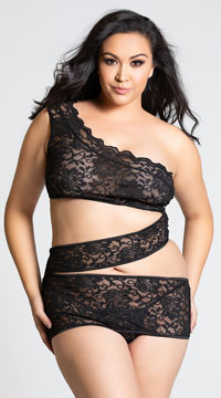 Plus Size Zigzag Lace Chemise with Cut Out Torso - Black
