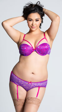 Plus Size Sheer Passion Bra and Gartered Panty Set - Purple