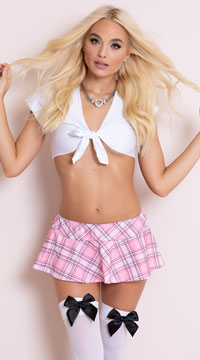 Preppy School Girl Lingerie Costume - Pink/White