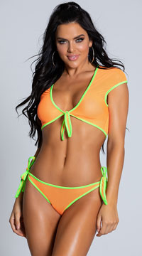 Crave Me Neon Tie Top Set - Orange